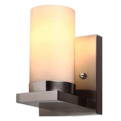 Sea Gull Lighting Modern Sconce Wall Light with White Glass in Brushed Nickel Finish 41585-962