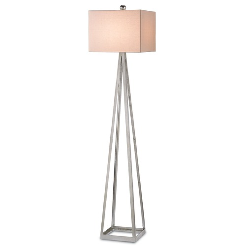 Currey and Company Lighting Currey and Company Lighting Bel Silver Leaf Floor Lamp with Rectangle Shade 8069