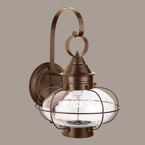 Norwell Lighting Norwell Lighting Cottage Onion Bronze Outdoor Wall Light 1324-BR-CL