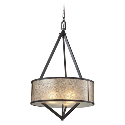 Elk Lighting Elk Lighting Mica Oil Rubbed Bronze Multi-Light Pendant with Drum Shade 66951/3