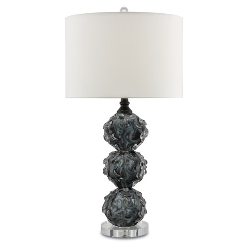 Currey and Company Lighting Currey and Company Octave Dark Smoke/black/clear Table Lamp with Drum Shade 6000-0024
