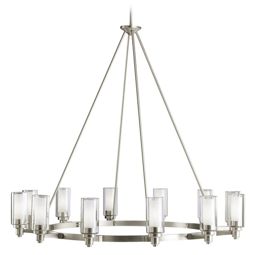 Kichler Lighting Kichler Modern Chandelier with Clear Glass in Brushed Nickel Finish 2347NI