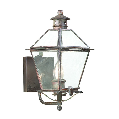 Troy Lighting Outdoor Wall Light with Clear Glass in Natural Aged Brass Finish BCD8950NAB