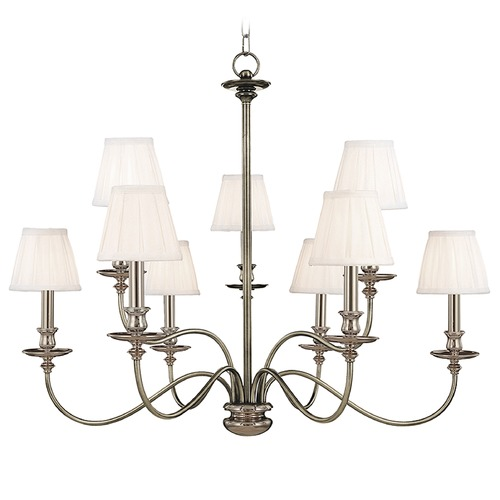 Hudson Valley Lighting Chandelier with White Shades in Polished Nickel Finish 4039-PN