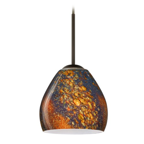 Besa Lighting Besa Lighting Bolla Bronze Mini-Pendant Light with Bowl / Dome Shade 1BT-4122CE-BR