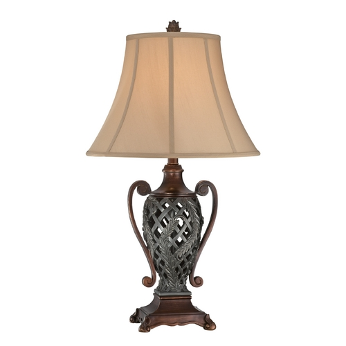 Lite Source Lighting Table Lamp with Brown Shade in Antique Dark Bronze Finish CF41255