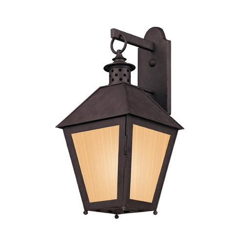 Troy Lighting Outdoor Wall Light with Amber Glass in Centennial Rust Finish BF3293