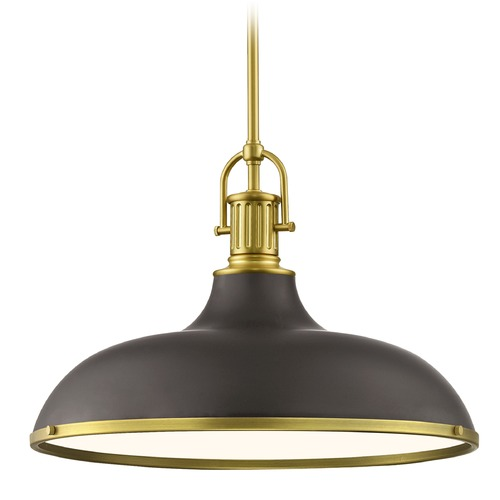 Design Classics Lighting Bronze Large Industrial Pendant Light with Brass 18.38-Inch Wide 1764-12 SH1779-220 R1779-12