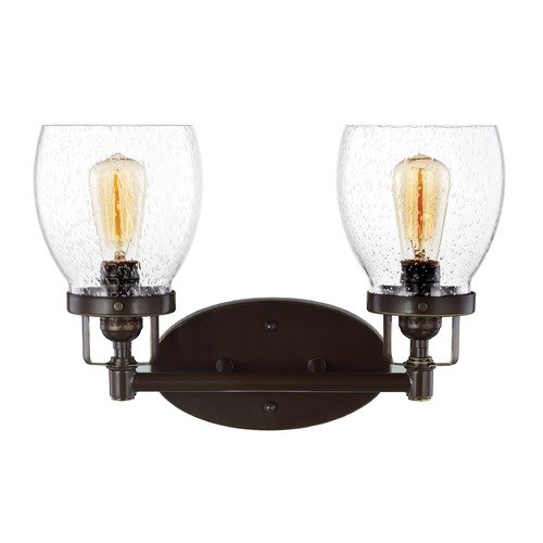 Sea Gull Lighting Seeded Glass Bathroom Light Bronze Sea Gull Lighting 4414502-782