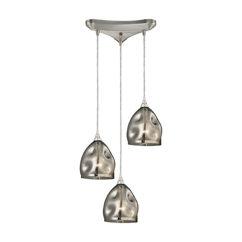 Elk Lighting Elk Lighting Niche Satin Nickel Multi-Light Pendant with Bowl / Dome Shade 31596/3