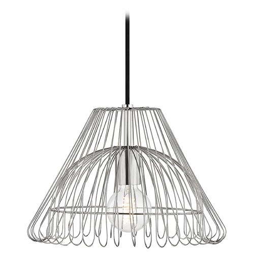 Mitzi by Hudson Valley Mid-Century Modern Pendant Light Polished Nickel Mitzi Katie by Hudson Valley H180701S-PN