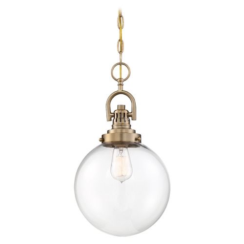 Nuvo Lighting Satco Lighting Skyloft Burnished Brass Pendant Light with Globe Shade 60/6671