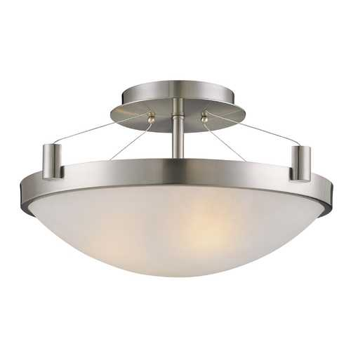 George Kovacs Lighting Modern Semi-Flushmount Light with White Glass in Brushed Nickel Finish P591-084