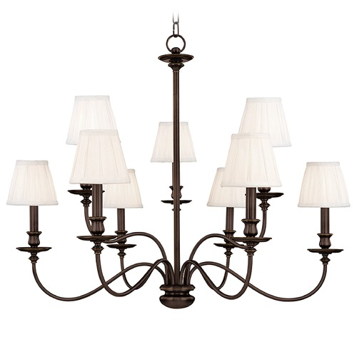 Hudson Valley Lighting Chandelier with White Shades in Old Bronze Finish 4039-OB