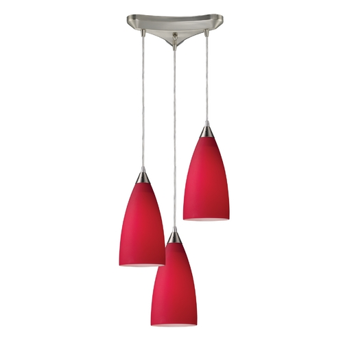 Elk Lighting Modern Multi-Light Pendant Light with Red Glass and 3-Lights 2583/3