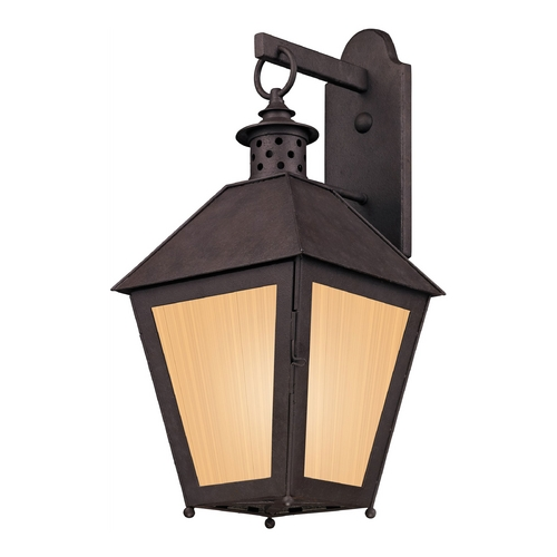 Troy Lighting Outdoor Wall Light with Beige / Cream Glass in Centennial Rust Finish BF3294
