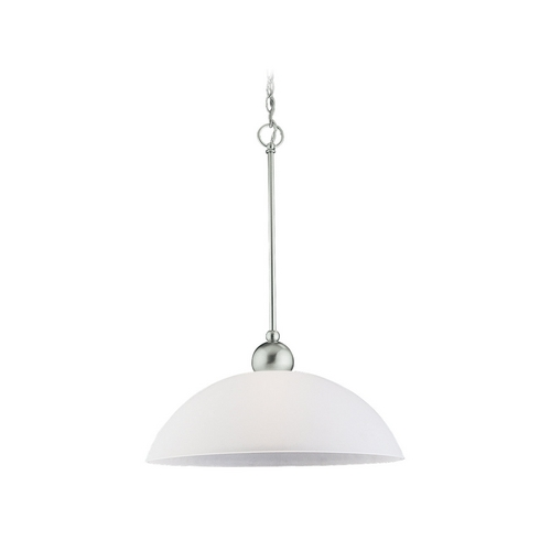 Sea Gull Lighting Modern Pendant Light with White Glass in Brushed Nickel Finish 65035-962