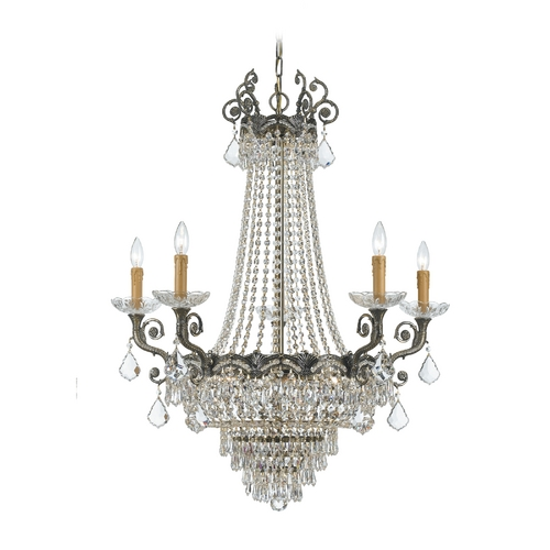 Crystorama Lighting Crystal Chandelier in Historic Brass Finish 1486-HB-CL-S