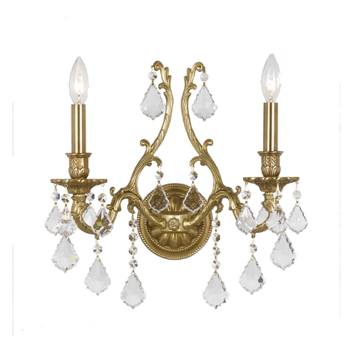 Crystorama Lighting Crystal Sconce Wall Light in Aged Brass Finish 5142-AG-CL-S