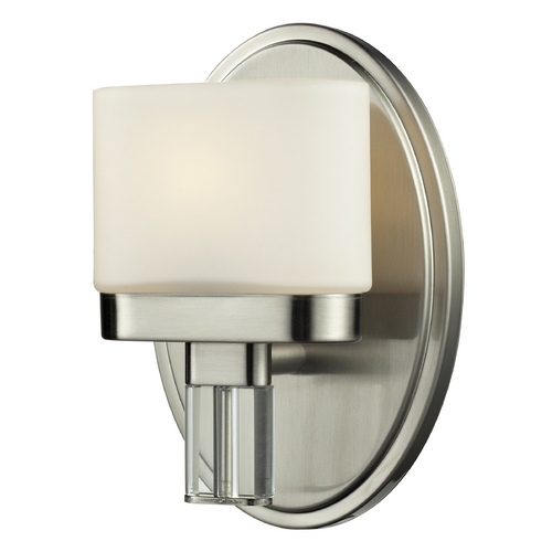 Elk Lighting Modern Sconce Wall Light with White Glass in Satin Nickel Finish 84090/1
