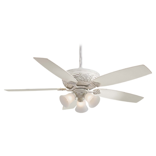 Minka Aire Ceiling Fan with Light with White Glass in Provencal Blanc Finish F759-PBL