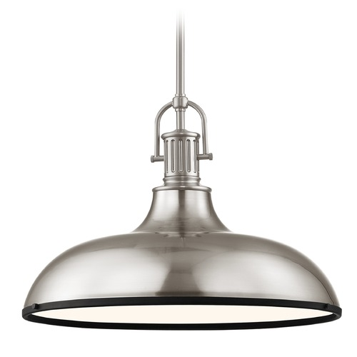 Design Classics Lighting Industrial Metal Pendant Light Satin Nickel and Black 18.38-Inch Wide 1764-09 SH1779-09 R1779-07