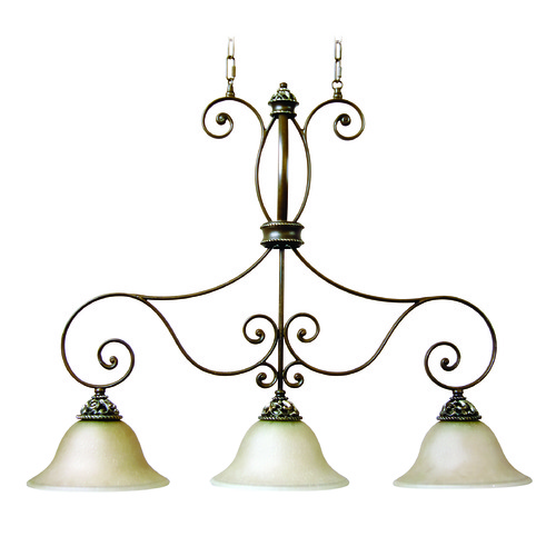 Jeremiah Lighting Jeremiah Mia Aged Bronze, Vintage Madera Island Light with Bowl / Dome Shade 7534AGVM3
