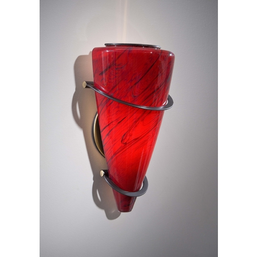 Holtkoetter Lighting Holtkoetter Modern Sconce Wall Light with Red Glass in Hand-Brushed Old Bronze Finish 2969 HBOB MGR