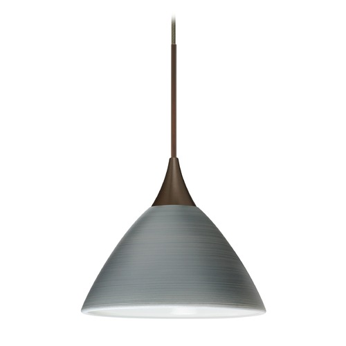 Besa Lighting Besa Lighting Domi Bronze Mini-Pendant Light with Bell Shade 1XT-1743TN-BR