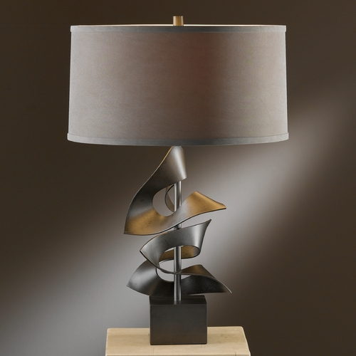 Hubbardton Forge Lighting Hubbardton Forge Lighting Gallery Dark Smoke Table Lamp with Drum Shade 273050-07-297