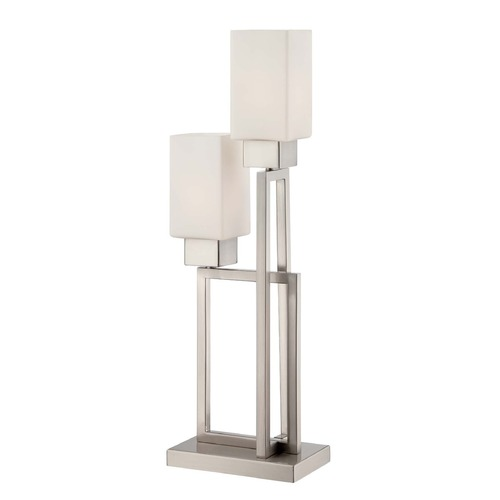 Lite Source Lighting Lite Source Risa Polished Steel Table Lamp with Rectangle Shade LS-22572