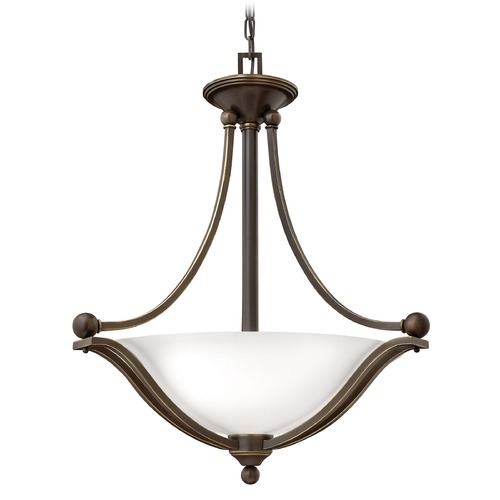 Hinkley Lighting Hinkley Lighting Bolla Olde Bronze Pendant Light with Bowl / Dome Shade 4652OB-OPAL