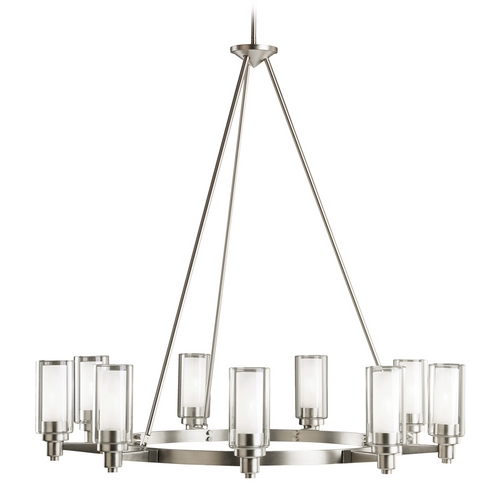 Kichler Lighting Kichler Modern Chandelier with Clear Glass in Brushed Nickel Finish 2346NI