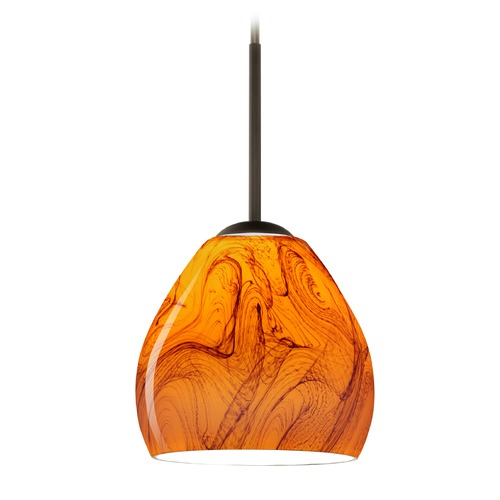Besa Lighting Besa Lighting Bolla Bronze Mini-Pendant Light with Bowl / Dome Shade 1BT-4122HB-BR