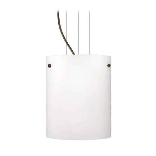 Besa Lighting Modern Pendant Light with White Glass in Bronze Finish 1KG-400607-BR