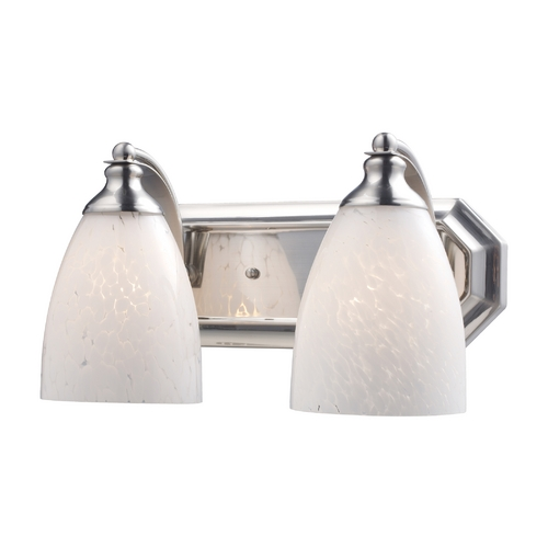 Elk Lighting Bathroom Light with Art Glass in Satin Nickel Finish 570-2N-SW
