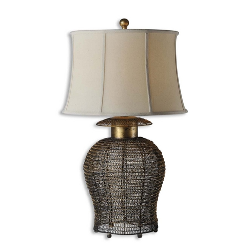 Uttermost Lighting Table Lamp with Beige / Cream Shade in Antique Gold Leaf Finish 27650