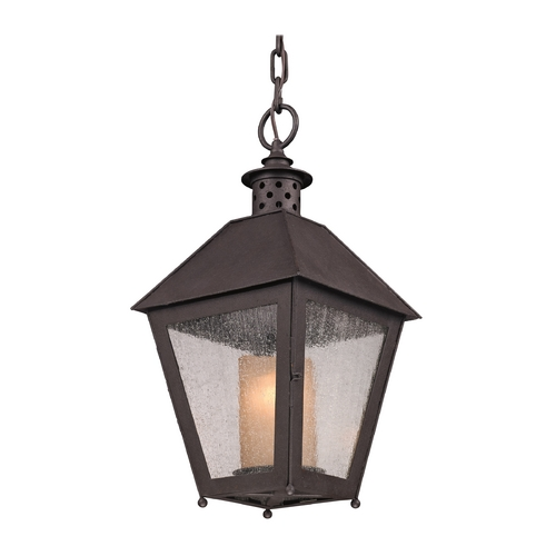 Troy Lighting Outdoor Hanging Light with Clear Glass in Centennial Rust Finish F3297
