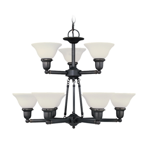 Sea Gull Lighting Chandelier with White Glass in Heirloom Bronze Finish 31062-782
