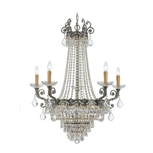Crystorama Lighting Crystal Chandelier in Historic Brass Finish 1486-HB-CL-SAQ