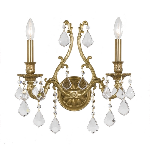 Crystorama Lighting Crystal Sconce Wall Light in Aged Brass Finish 5142-AG-CL-SAQ