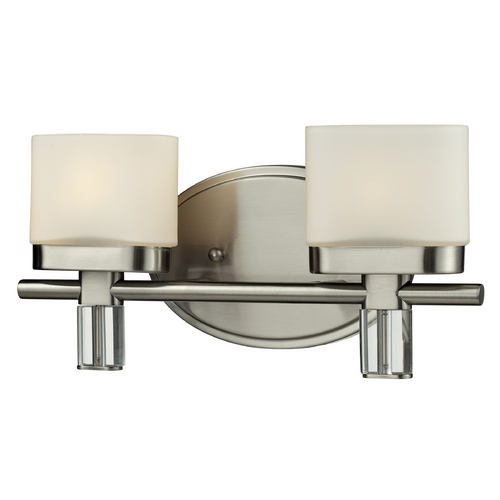 Elk Lighting Modern Bathroom Light with White Glass in Satin Nickel Finish 84091/2