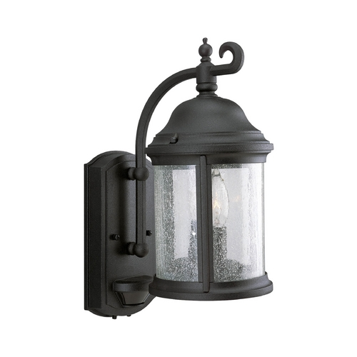Progress Lighting Water Seeded Glass Outdoor Wall Light Black Progress Lighting P5854-31