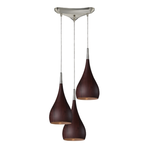 Elk Lighting Modern Multi-Light Pendant Light with Wood Shades and 3-Lights 31341/3DW