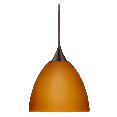 Besa Lighting Besa Lighting Sasha Bronze LED Pendant Light with Bell Shade 1XT-757080-LED-BR