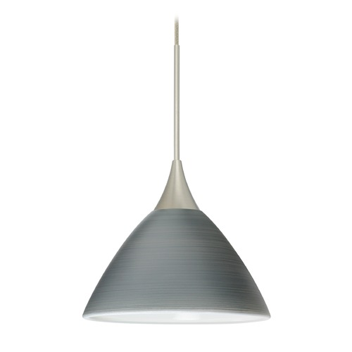 Besa Lighting Besa Lighting Domi Satin Nickel Mini-Pendant Light with Bell Shade 1XT-1743TN-SN