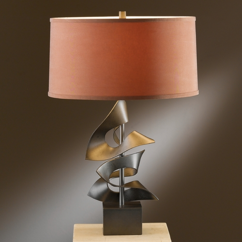 Hubbardton Forge Lighting Hubbardton Forge Lighting Gallery Dark Smoke Table Lamp with Drum Shade 273050-07-365