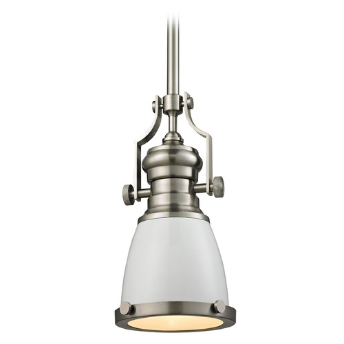 Elk Lighting Elk Lighting Chadwick Gloss White/satin Nickel Mini-Pendant Light with Bowl / Dome Shade 66524-1