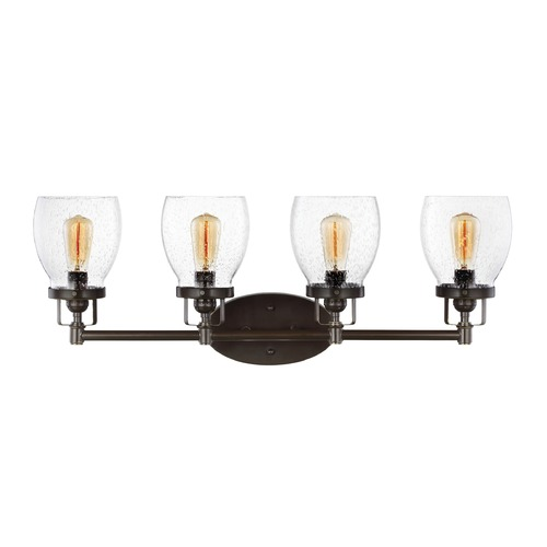 Sea Gull Lighting Seeded Glass Bathroom Light Bronze Sea Gull Lighting 4414504-782