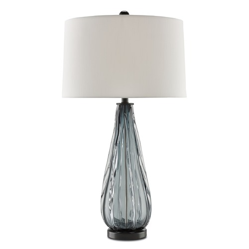 Currey and Company Lighting Currey and Company Nightcap Blue-Gray/clear/black Table Lamp with Drum Shade 6000-0027